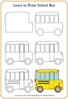 Cara Menggambar Bis Sekolah