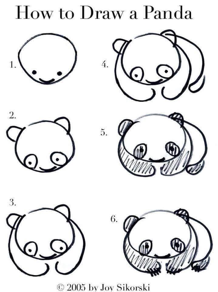 Cara menggambar Panda dan Boneka Panda